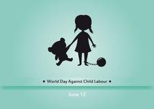 反对童工传染媒介的世界天 库存照片