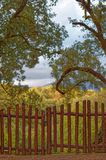 反对童话乡下神奇风景的木篱芭门 免版税图库摄影