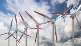 反对美丽的云彩背景,使用能源交替法的概念的造风机  股票录像