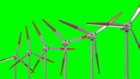 反对美丽的云彩背景,使用能源交替法的概念的造风机  股票视频