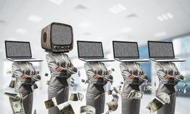 反对老一个的现代技术 免版税库存图片