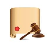 反对老纸卷例证的木惊堂木 免版税库存照片