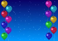 反对背景满天星斗的天空的杂色气球 现实3D设计 库存例证