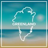 反对背景的格陵兰地图概略的概述 向量例证