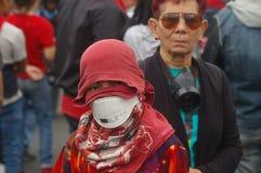 反对胡安奥兰多埃尔南德斯洪都拉斯1月21的改选的日抗议游行2018 10日 免版税库存图片