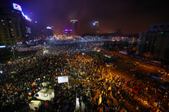 反对腐败和罗马尼亚政府的抗议 库存图片