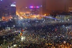 反对腐败旨令的罗马尼亚人抗议 免版税图库摄影