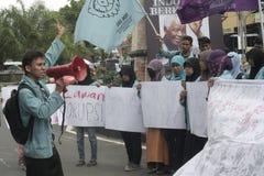 反对腐败的学生抗议在独奏城市,印度尼西亚 免版税库存图片