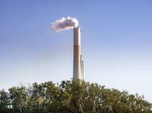 反对蓝天和绿色树的能源厂管子 环境保护的概念 库存图片