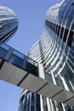 反对蓝天在苏荷区三里屯地区,北京,中国的摩天大楼 免版税图库摄影