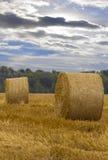 反对蓝天的一个圆的干草堆在领域 库存照片
