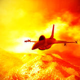 反对蓝天的喷气式歼击机飞行, 3d例证 免版税库存图片