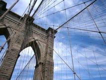 反对蓝天的布鲁克林大桥 免版税图库摄影