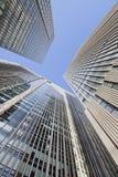 反对蓝天的摩天大楼在北京中心,中国 免版税库存照片