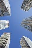 反对蓝天的摩天大楼在北京中心,中国 免版税库存图片