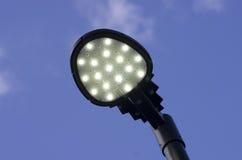 反对蓝天的现代街灯 免版税图库摄影