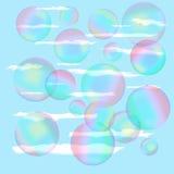 反对蓝天的肥皂泡 免版税库存照片