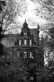 反对蓝天的蠕动的老房子 黑色白色 库存图片