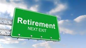 反对蓝天的退休下个出口标志 向量例证