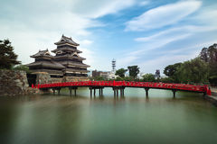 反对蓝天的马塔莫罗斯城堡在Nagono市,日本 免版税库存照片