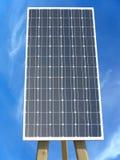 反对蓝天背景的太阳电池板 免版税库存照片
