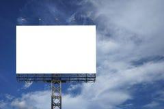 反对蓝天背景的空白的大广告牌,您的广告的,在船上投入了您自己的文本这里,孤立白色 库存照片