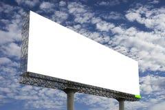 反对蓝天背景的空白的大广告牌,您的广告的,在船上投入了您自己的文本这里,孤立白色 图库摄影