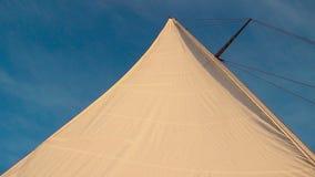 反对蓝天,夏天的白色风帆,乘快艇,低角度射击 影视素材