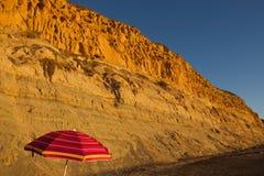 反对蓝天(Torrey Pine国家海滩,拉霍亚,加利福尼亚,美国/2014 11月7日的橙色峭壁) 图库摄影