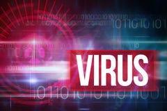 反对蓝色技术设计的病毒与二进制编码 免版税库存照片