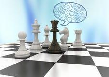 反对蓝色抽象背景和蓝色讲话的棋子起泡与嵌齿轮 库存图片