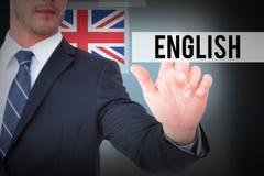 反对蓝色背景的英语与小插图 免版税库存图片
