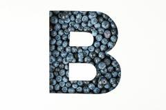 反对被隔绝的蓝莓背景的信件B 免版税库存图片