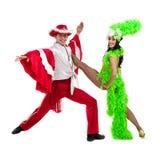 反对被隔绝的白色背景的吉普赛佛拉明柯舞曲舞蹈家夫妇跳舞 免版税库存图片