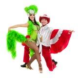反对被隔绝的白色背景的吉普赛佛拉明柯舞曲舞蹈家夫妇跳舞 库存照片