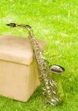 反对象草的表面上的美丽的金黄萨克斯管椅子 库存图片