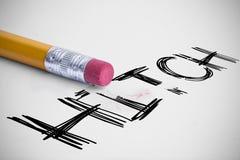 反对铅笔的栓有橡皮擦的 库存图片