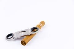 反对雪茄和切削刀的摄影 库存图片