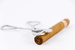 反对雪茄和切削刀的摄影 免版税库存照片