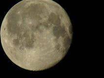 反对黑暗的天空背景的月亮特写镜头 库存图片