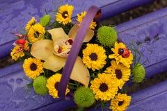 反对紫色外部的五颜六色的花在长凳 免版税库存照片