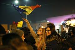 反对coruption和罗马尼亚政府的抗议 库存图片