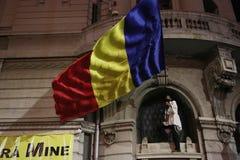 反对coruption和罗马尼亚政府的抗议 免版税库存照片