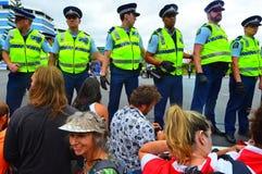 反对TPPA的数千抗议在中央奥克兰新西兰 免版税库存照片