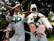 反对TPPA贸易协定的集会在奥克兰 库存图片