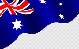反对transparentbackground的挥动的澳大利亚旗子 免版税库存图片