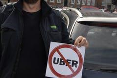 反对UBER的抗议 库存照片