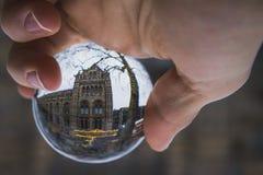 反射一个水晶球的自然历史博物馆 图库摄影