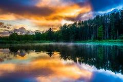 反射在池塘的日落天空在特拉华峡谷全国R 免版税图库摄影