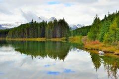 反射在沿Icefields大路的一个高山湖的加拿大罗基斯的美丽的高山在班夫和碧玉之间 库存照片